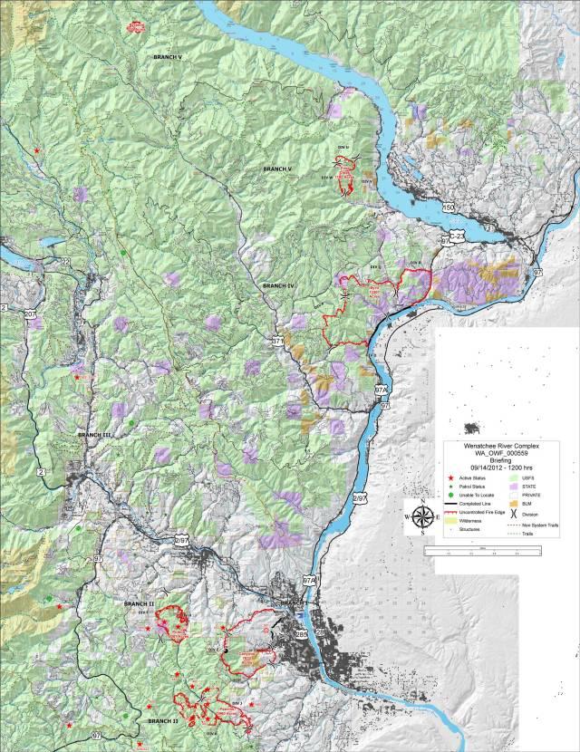 Wenatchee Complex 9/14 Briefing Map