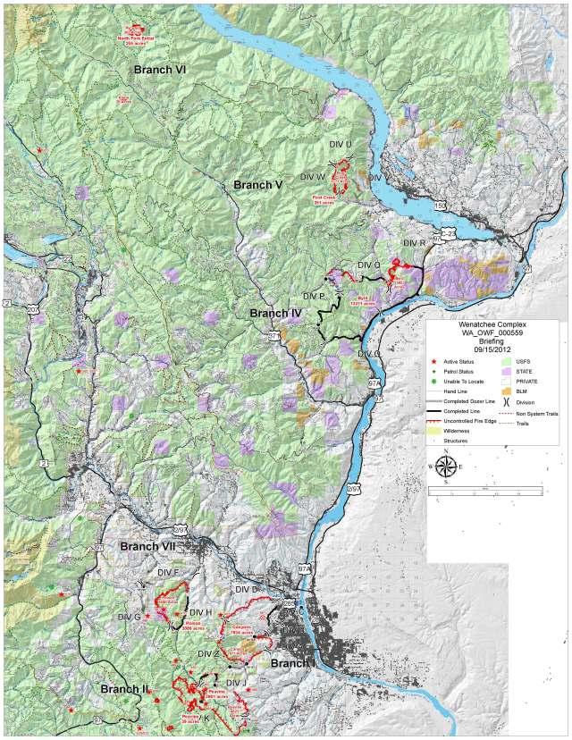 Wenatchee Complex Fire Briefing 9/15 Briefing Map