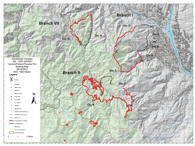 Wenatchee Complex Canyon Fire Briefing Map 9/16