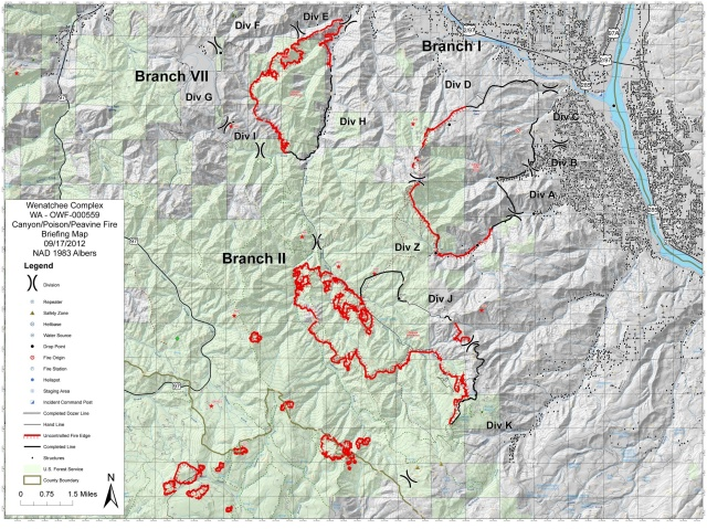 Wenatchee Complex Canyon Fire Briefing Map 9/17