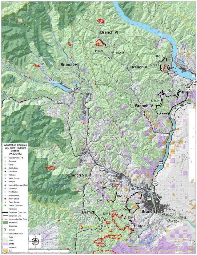 Wenatchee Complex 20120920 Briefing Map